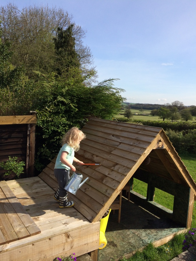 Rosie painting her playhouse yesterday